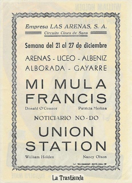 Programa de Cine - Union Station - William Holden - Nancy Olson