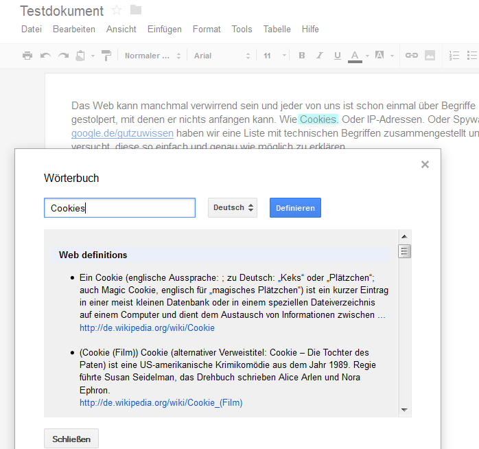 Google Docs Definitionskürzel