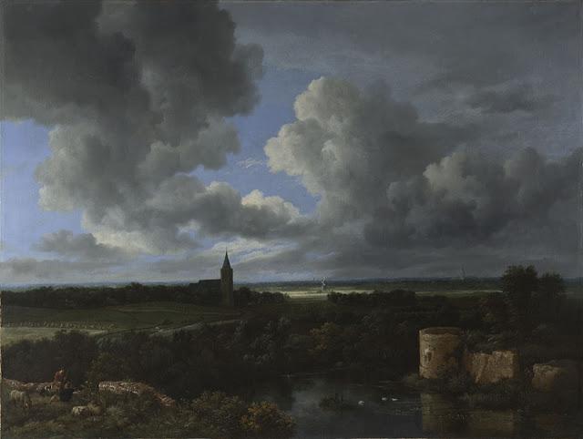Jacob van Ruisdael  - Gran paisaje con-castillo en ruinas e iglesia - 1665-70