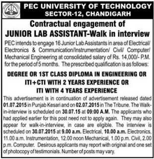 Walk in Interview Recruitment of JLA Junior Lab Assistant in PEC University of Technology Chandigarh