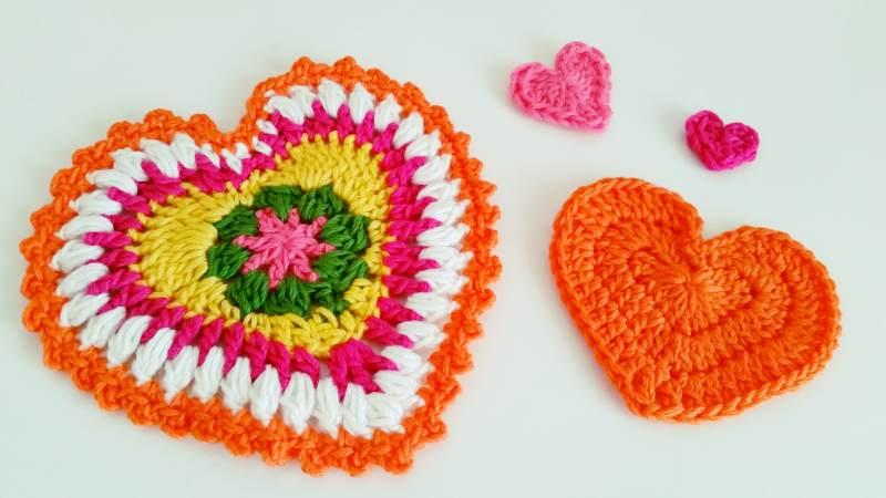 tejiendo paso a paso corazones crochet ganchillo