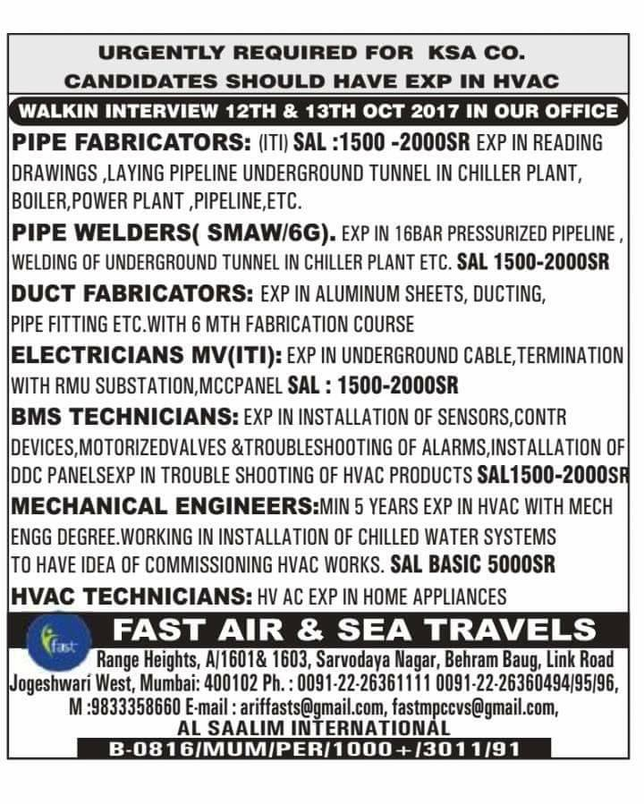 HVAC Co Job opportunities for KSA - Gulf Jobs for Malayalees