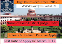 High Court Recruitment 2017– District Judge Cadre