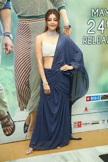 ranarangam telugu movie actress kajal agarwal in blue lehenga choli boos show Pictures2