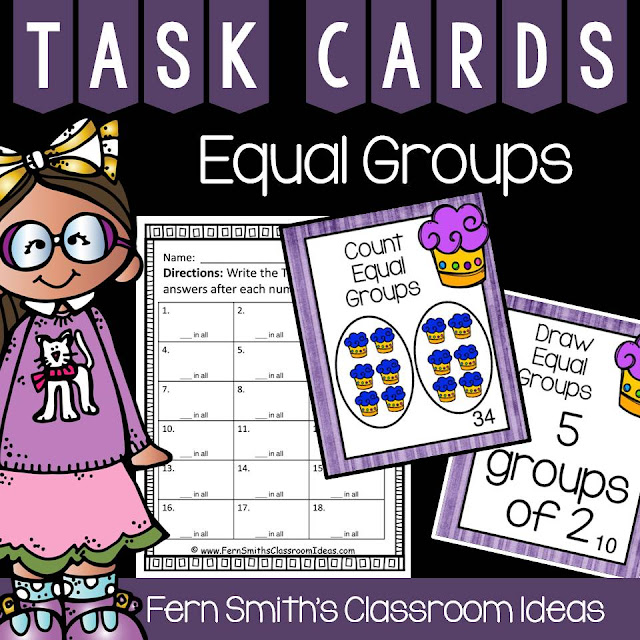 Fern Smith's Classroom Ideas Equal Groups Task Cards at TpT.