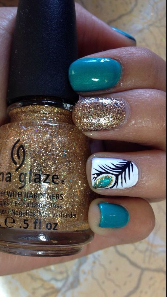 Creative Feather Nail Art Idea