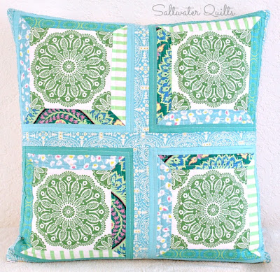 Pretty Patchwork Pillows | Quilted Pillow Covers | © Saltwater Quilts 2013