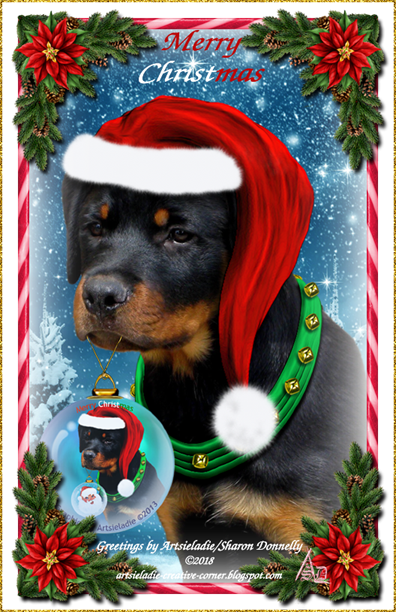 Rottie Pup card art by/copyrighted to Artsieladie