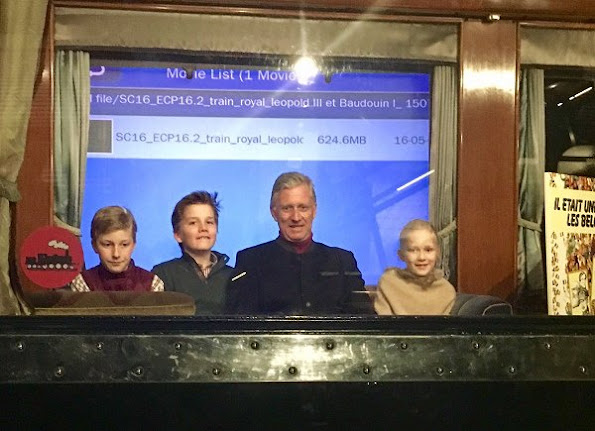 King Philippe, Princess Eleonore, Prince Gabriel and Prince Emmanuel visited the Train World museum in the Schaerbeek station in Brussels