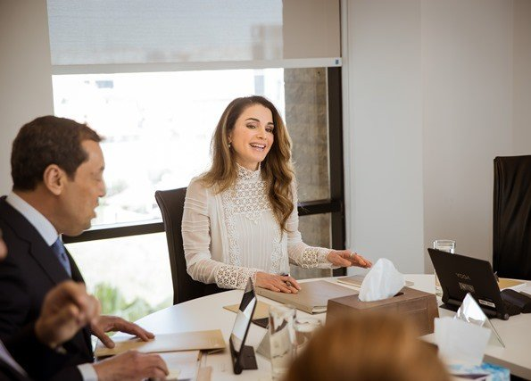 Queen Rania of Jordan chaired a meeting of the Board of Directors of the Queen Rania Foundation for Education and Development