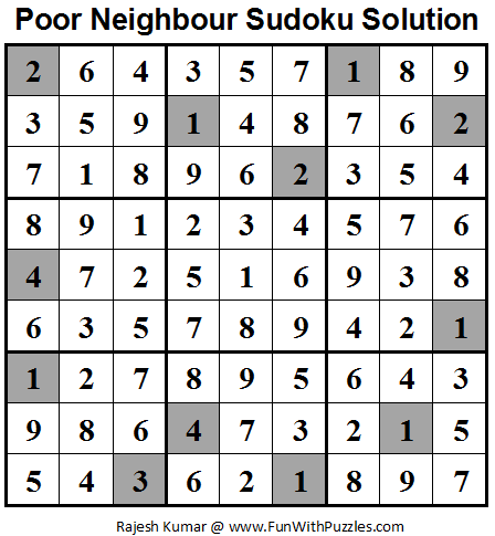 Poor Neighbours Sudoku (Daily Sudoku League #63) Solution