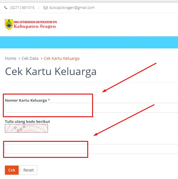 Mengecek No KK Via Online Kabupaten Sragen