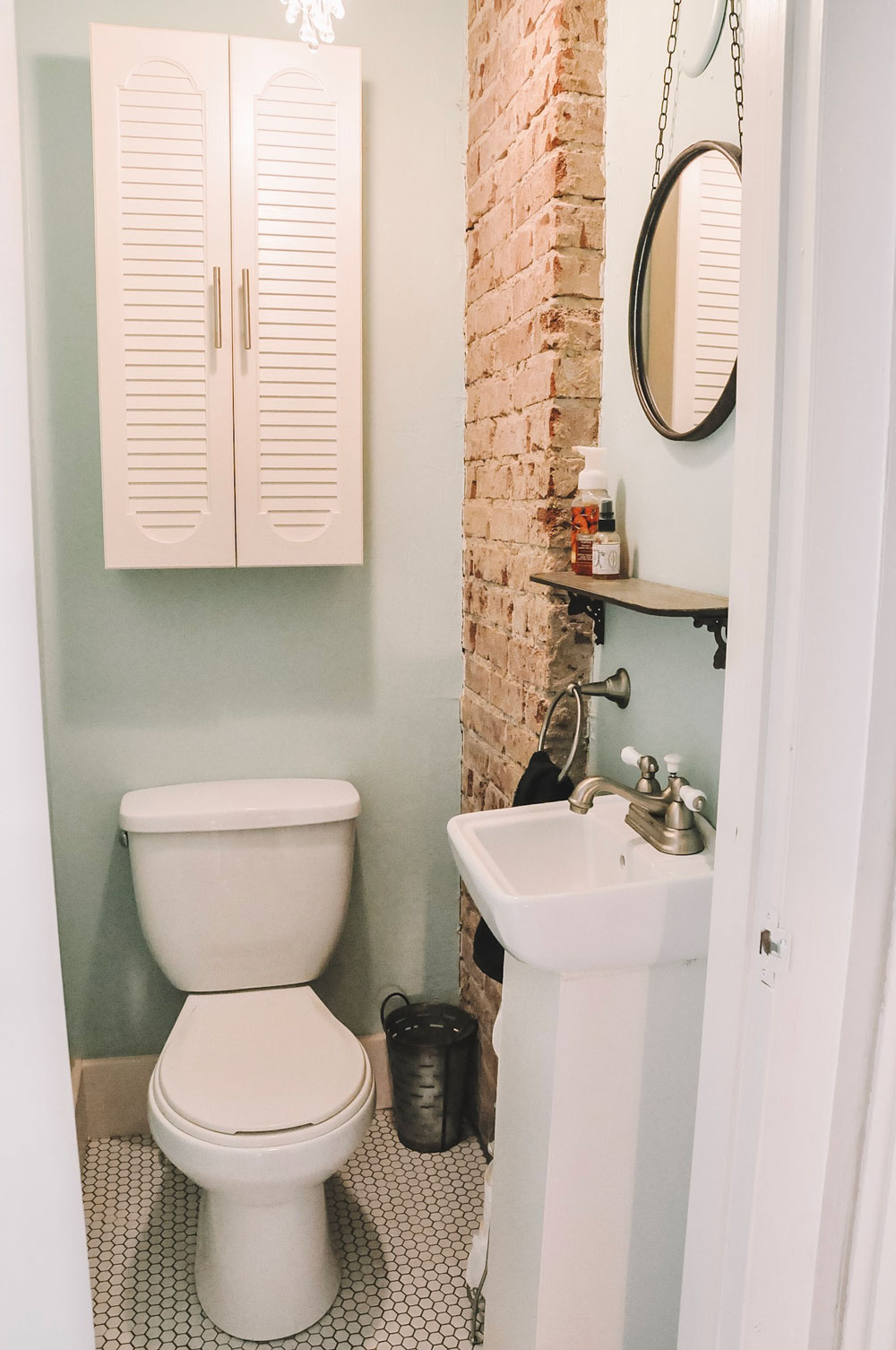 half bath exposed brick