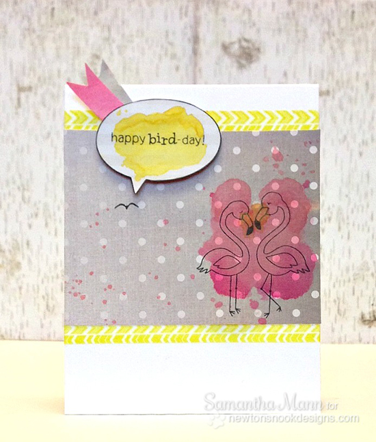 Flamingo birthday card by Samantha Mann for Newton's Nook Designs | Flirty Flamingos Stamp set