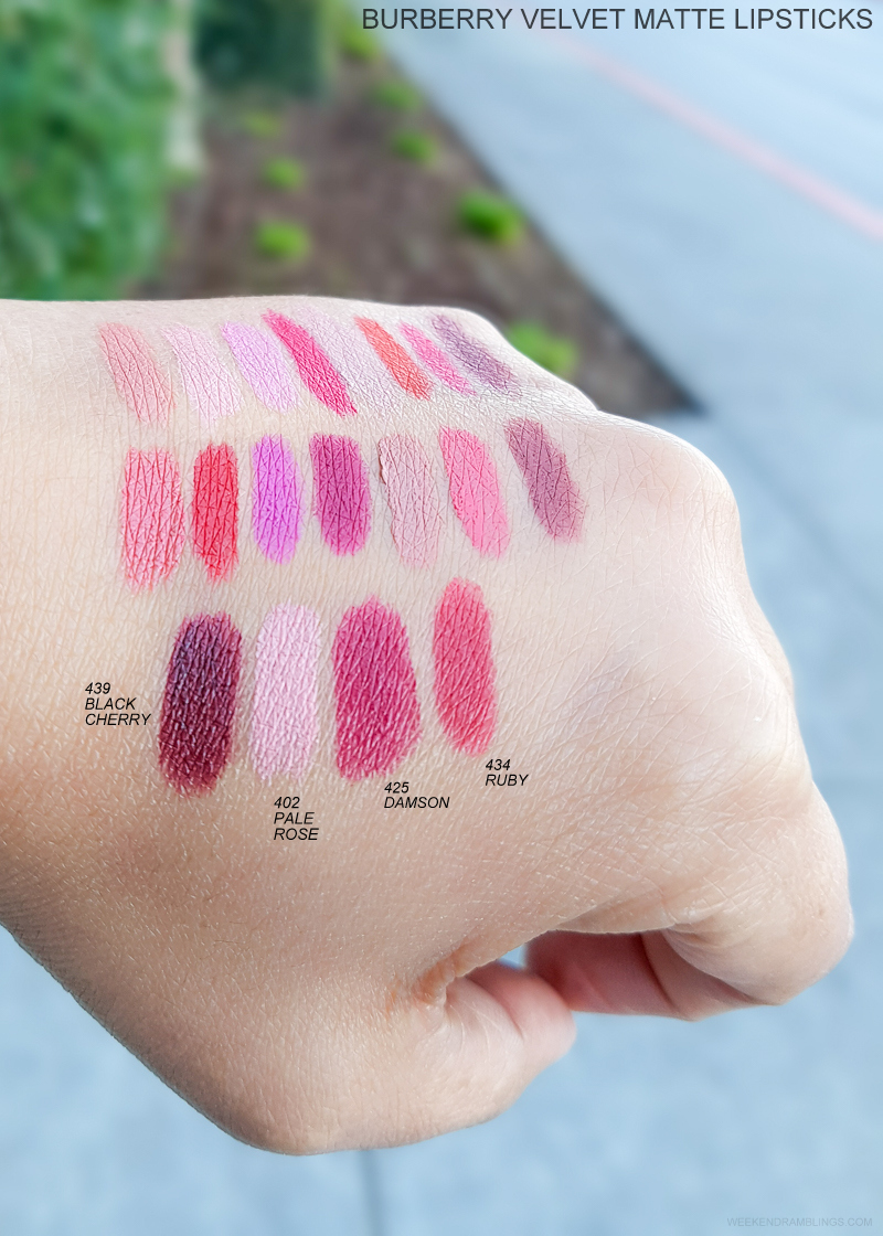 Burberry Beauty Lip Velvet Matte Lipsticks - Swatches  439 Black Cherry - 402 Pale Rose - 425 Damson - 434 Ruby