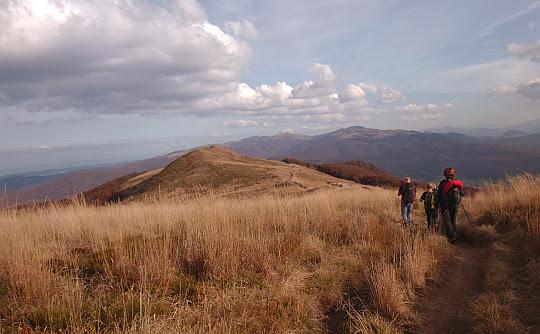 Przełęcz przed ostatnim wierzchołkiem Połoniny Caryńskiej.
