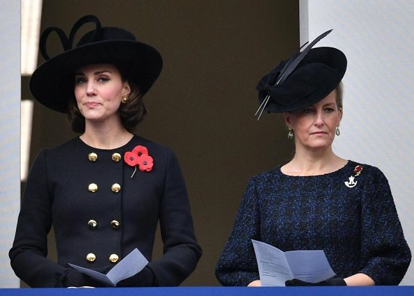 Kate Middleton wore Dolce & Gabbana crossover button coat.and Oscar de la Renta earrings. Countess of Wessex