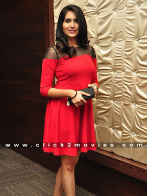 Vyoma Nandi Smiling Snaps with Red Dress