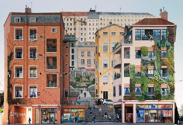 Pinturas nos muros Mur des Canuts de Lyon