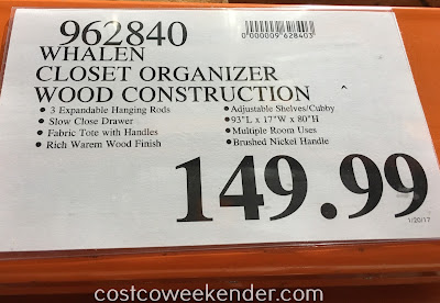 Deal for Whalen Closet Organizer at Costco