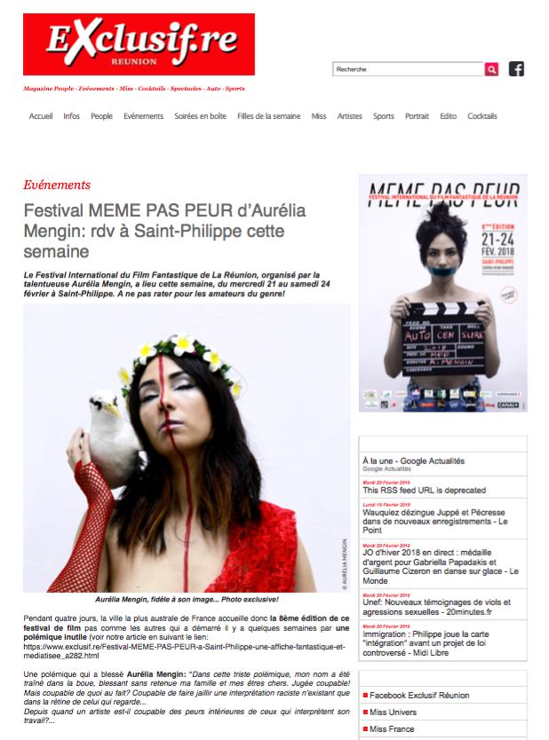 Le Festival MEME PAS PEUR dans Exclusif le 20 février 2018