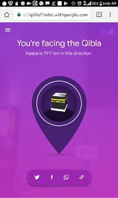 Hasil penentuan kiblat menggunakan layanan Qiblafinder.withgoogle.com