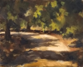 Oil painting of a curved tree-lined gravel driveway with cast shadows.