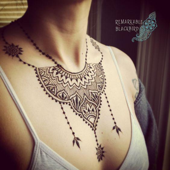 Henna Tattoo Neck Designs: 15 Simple Henna Tattoo Mehndi Designs