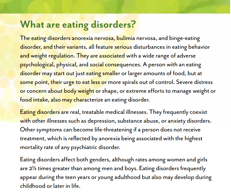the symptoms of eating disorders among athletes Abstract the purpose of this study was to examine whether athletes in certain sports display a higher tendency toward eating disorders than athletes in other sports.