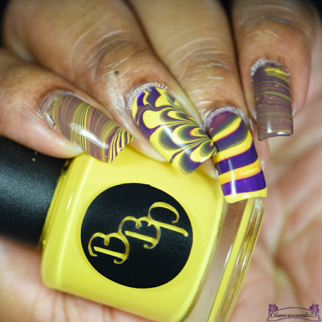 Watermarble Wednesdays: Dark Purple & Yellow