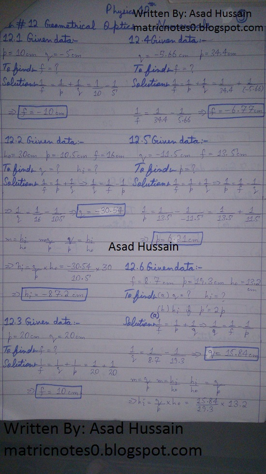 Matric 10th Physics Notes Chapter 12 Numerical Asad Hussain