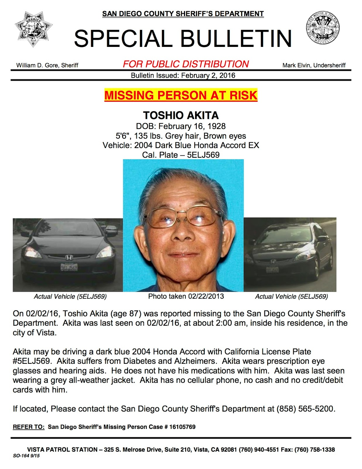 Senior missing from San Diego County FOUND | Missing Persons