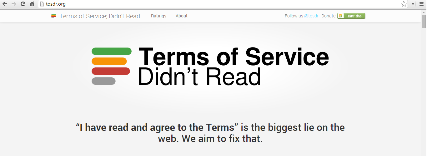 Terms of Service Didn't Read Website Screenshot - tosdr.org