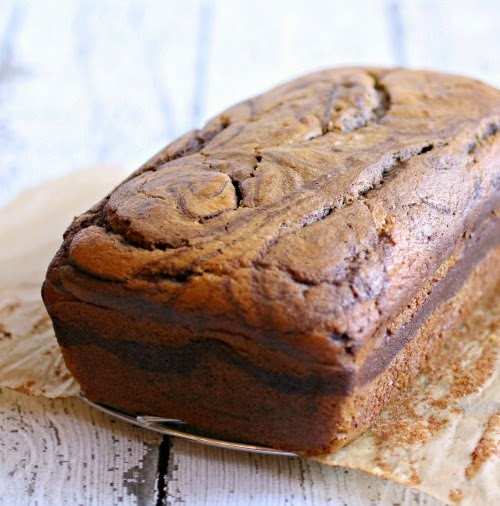 Marbled Chocolate Pumpkin Bread with Pumpkin Caramel