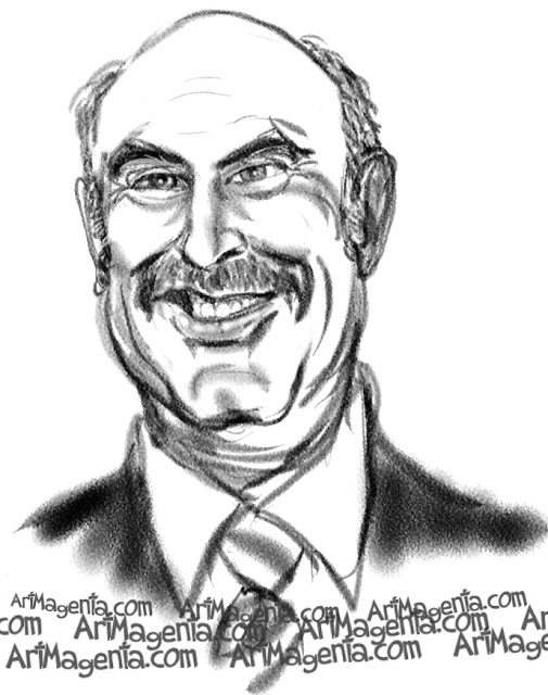 Dr Phil  caricature cartoon. Portrait drawing by caricaturist Artmagenta.