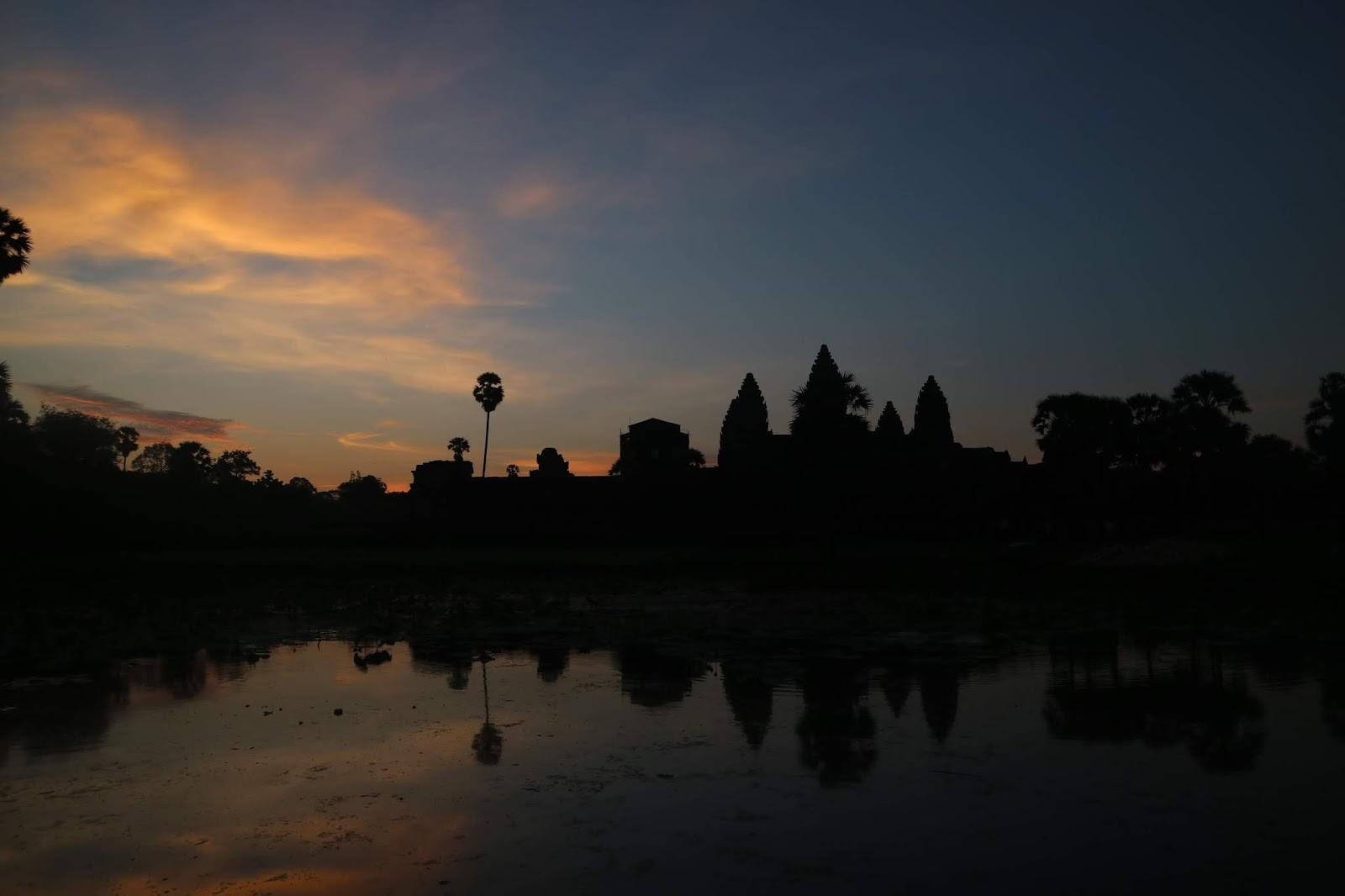 Facade of Angkor Wat in Sunrise