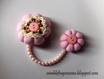 soft pink chain brooch, soft pink brooch, soft pink fabric brooch