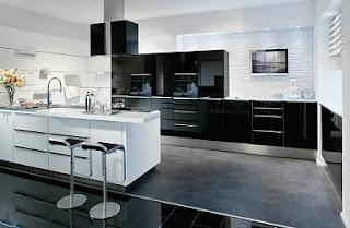 Cocina negro con blanco