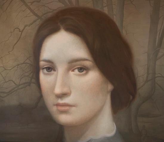 Obra de arte: retrato de una joven con mirada fija al espectador,al fondo con detalles naturalistas: ramas de roble.