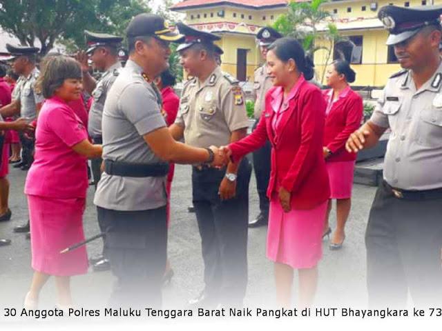 30 Anggota Polres MTB Naik Pangkat di HUT Bhayangkara ke 73