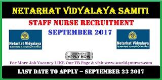 Netarhat Vidyalaya Samiti Staff Nurse government job vacancy.