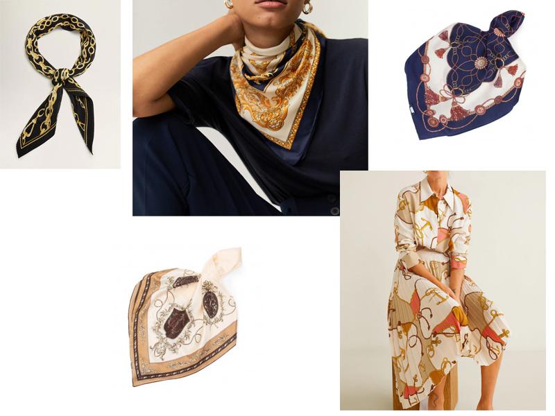 apaszka łańcuchy liny jedwabna chustka blog koszula spódnica