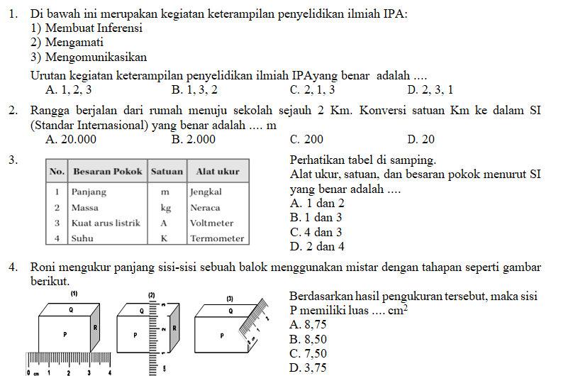 Soal Ipa Smp Kelas 7 Semester 1 Dan Jawabannya