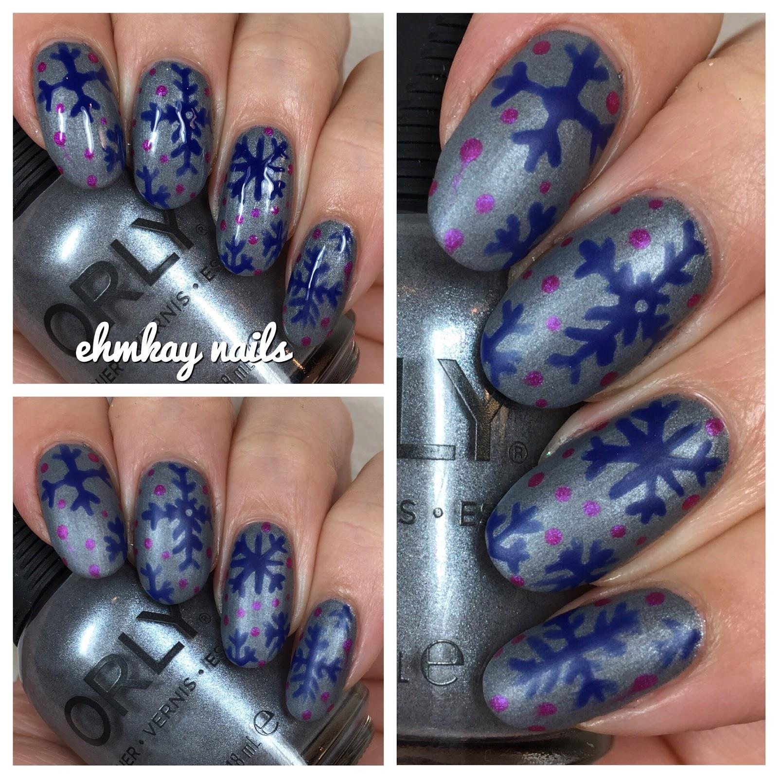 Ehmkay Nails Orly Sunset Strip Holiday 2016 Snowflakes Nail Art