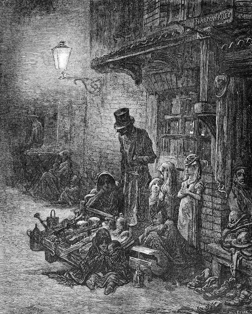 a Gustave Dore illustration of homeless families in 1800s London