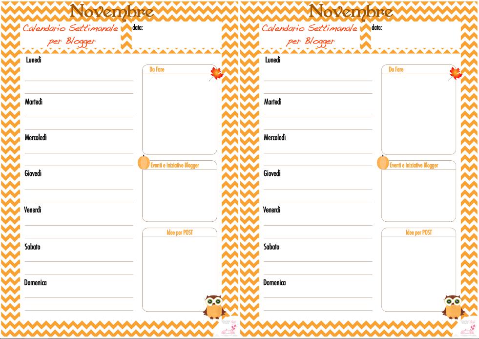 Pagina Calendario Settimanale.Pensieri Da Blogger E Calendario Per Blogger Settimanale Da