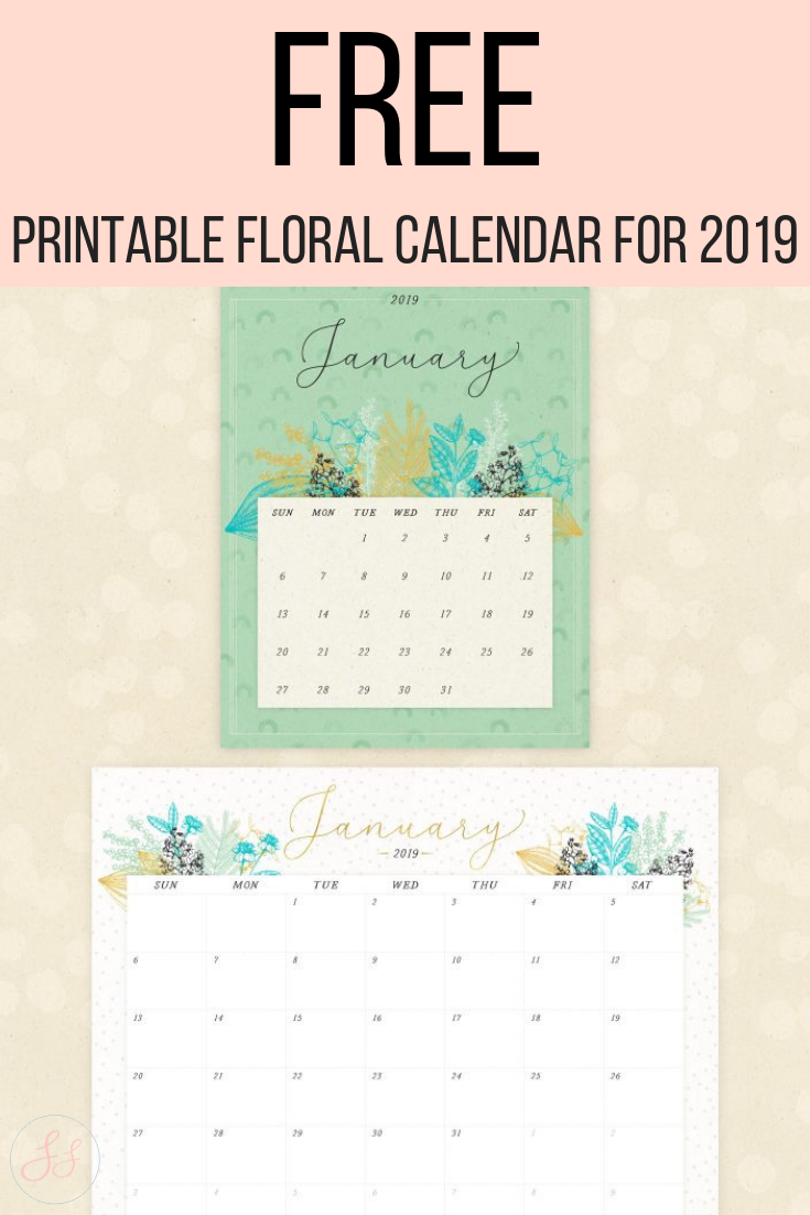 FREE Printable Floral Calendar For 2019