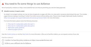 Blog saya yang terkena  Valuable Inventory Scrapt Content Saat Mengajukan Pendaftaran Blog kita Ke Adsense