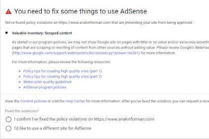 Cara Mengatasi Valuable Inventory Scrapt Content Saat Mengajukan Pendaftaran Blog kita Ke Adsense