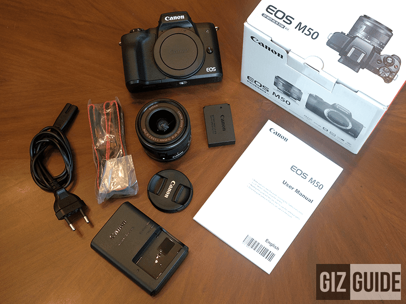 m50 canon eos box vlog inside accessories unboxing mirrorless brand screen
